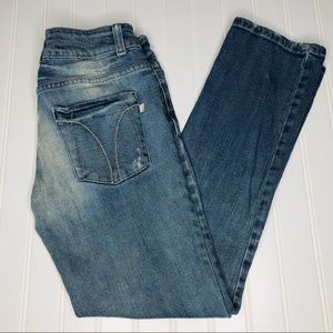JLo faded distressed capris, size 3
